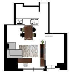 画像 マンションの家具の配置提案 ⑤ マンションの構造体の柱がお部屋の角にある間取りの家具の配置術 の記事より 10つ目