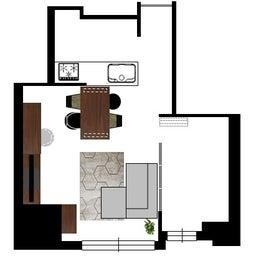 画像 マンションの家具の配置提案 ⑤ マンションの構造体の柱がお部屋の角にある間取りの家具の配置術 の記事より 15つ目