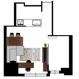 画像 マンションの家具の配置提案 ⑤ マンションの構造体の柱がお部屋の角にある間取りの家具の配置術 の記事より 5つ目