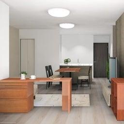 画像 マンションの家具の配置提案 ⑤ マンションの構造体の柱がお部屋の角にある間取りの家具の配置術 の記事より 13つ目