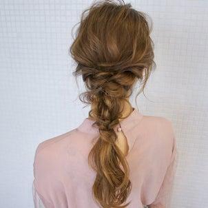 ツイストと三つ編みの編み下ろしアレンジ hair arrange & hair setの画像