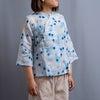 【涼し気リネンのチャイナシャツ】水玉チャイナとアジサイ。の画像