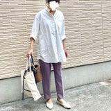 落ち着きパープルが可愛すぎた♡白シャツの相棒にも◎なカラーパンツで子供病院の日コーデの記事画像