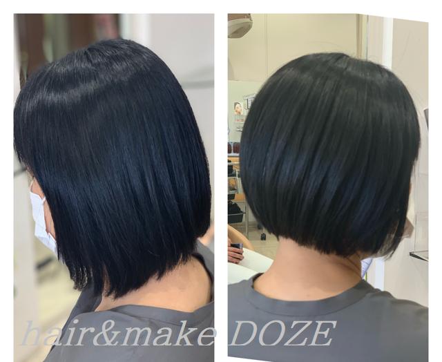 丸みを感じるボブスタイルも髪質改善プレミアムトリートメントで。