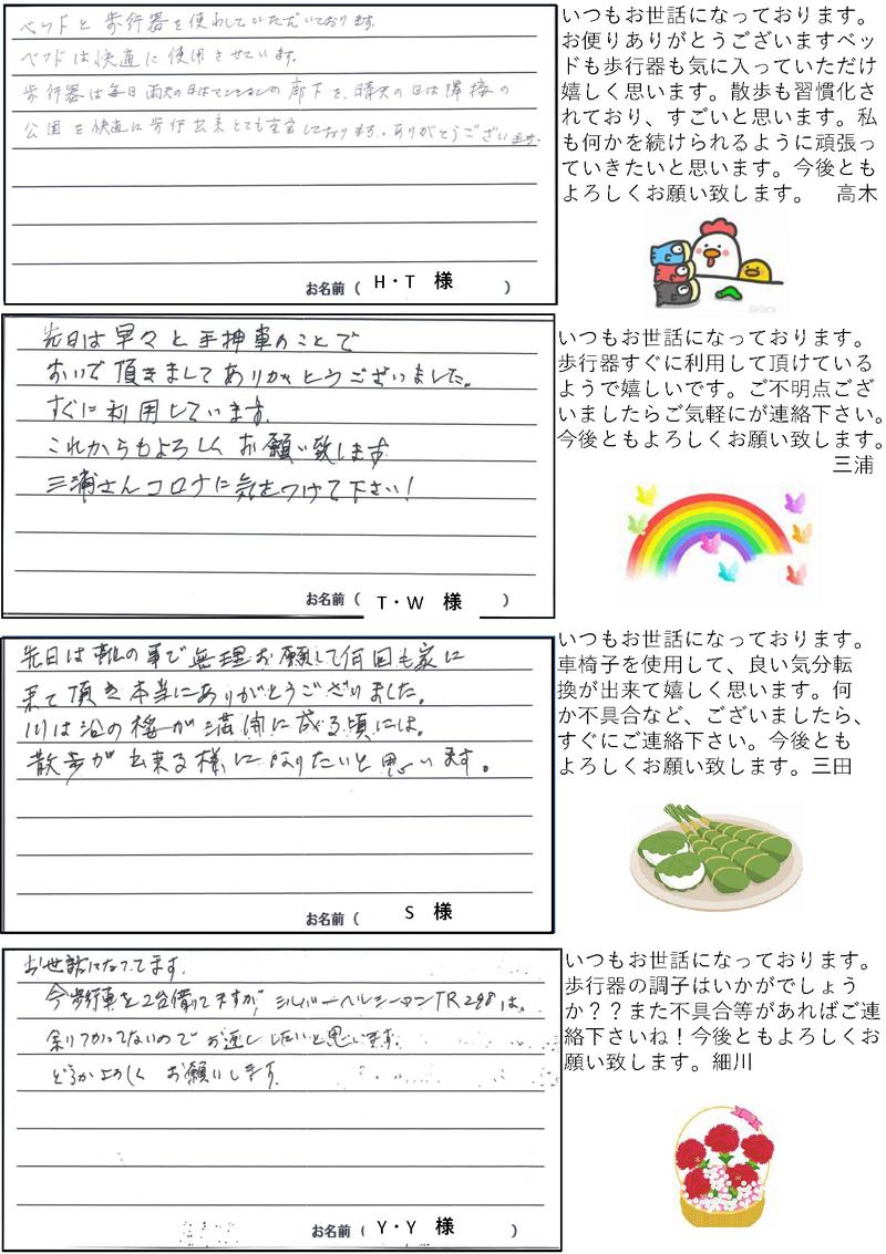 さんきゅー皆様からのお便り2021年5月号