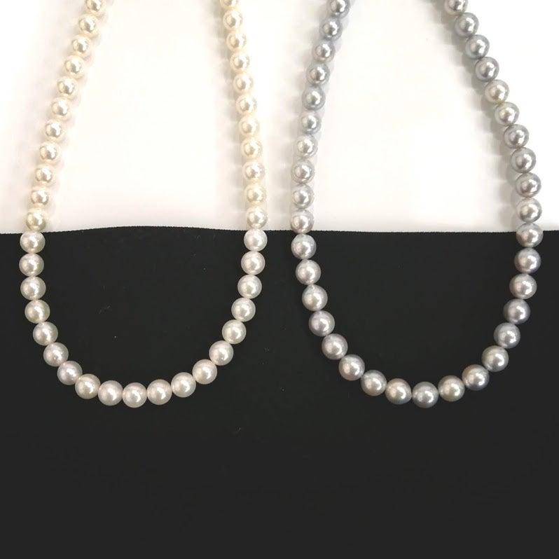 ナチュラルブルーグレー真珠パールネックレス・真珠パールネックレス糸替え・ジュエリー修理・アクセサリー修理・ジュエリーリフォーム・宝石修理・ネックレス修理・指輪リフォーム・necklace