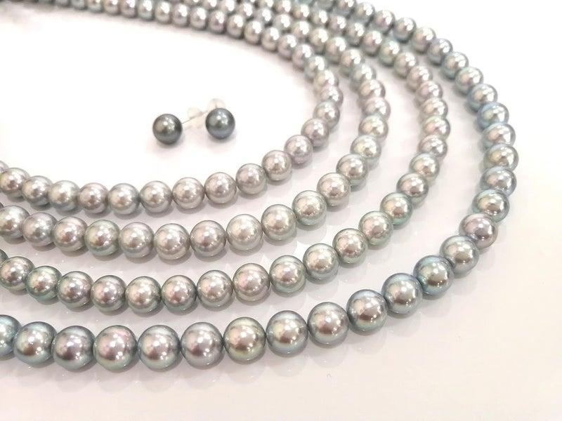 グレーあこや真珠パールネックレス・真珠パールネックレス糸替え・ジュエリー修理・アクセサリー修理・ジュエリーリフォーム・宝石修理・ネックレス修理・指輪リフォーム・necklace