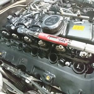 BMW,135,N54ツインターボエンジンオイル漏れ修理ローテンプサーモ取り付け。の画像