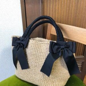 グログランリボンのリネンのバッグ!の画像