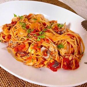 ♡魚介の和風トマトパスタ♡【 #発酵調味 #味噌 #醤油 】の画像