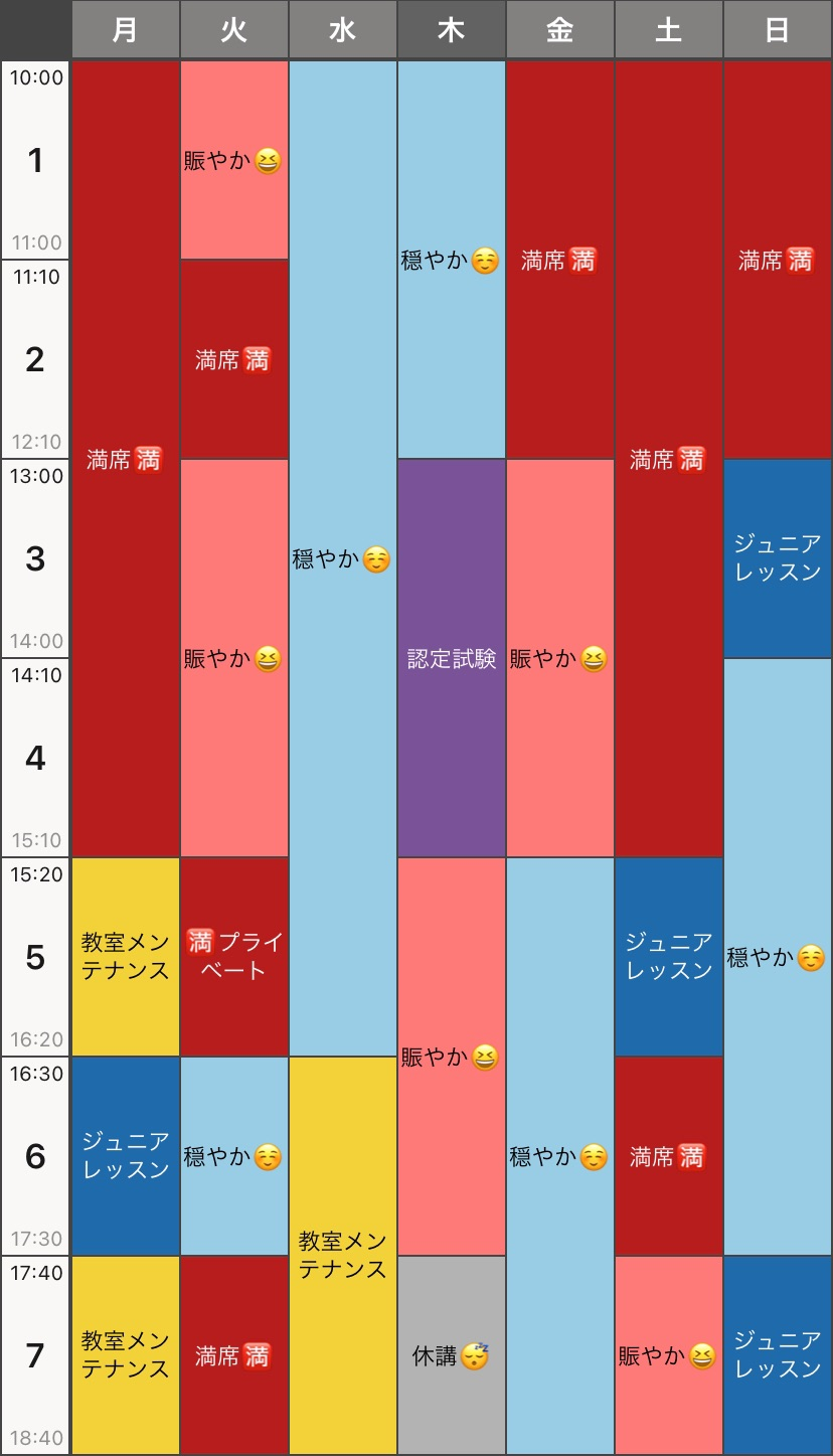 ご予約状況→2021年6月21日〜7月4日まで