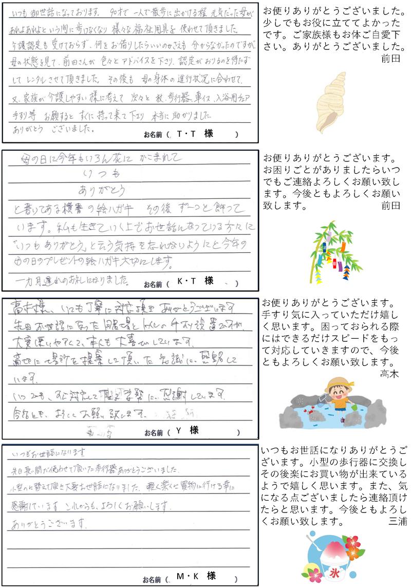 株式会社さんきゅー皆様からのお便り2021年7月号