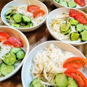 夏野菜の肉巻き&そうめん の画像