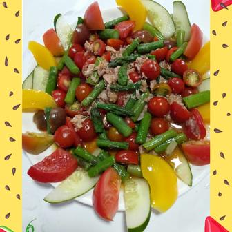 トマトと夏野菜のツナあえ❤️