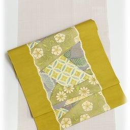 画像 Light Olive Yellow 摺り型友禅「松几帳」染め帯  の記事より 4つ目