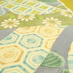 画像 Light Olive Yellow 摺り型友禅「松几帳」染め帯  の記事より 1つ目