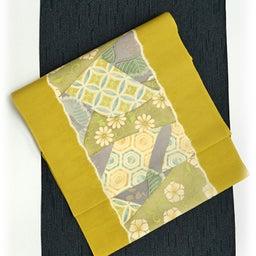 画像 Light Olive Yellow 摺り型友禅「松几帳」染め帯  の記事より 5つ目