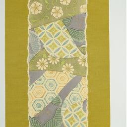 画像 Light Olive Yellow 摺り型友禅「松几帳」染め帯  の記事より 3つ目