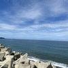静かな海をお散歩しての画像