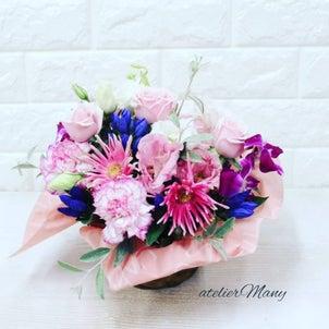 【お誕生日お祝いにお生花アレンジメント】の画像