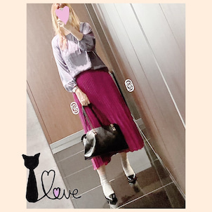 ★パープル系どピンクなプリーツスカートをメーンにラベンダーコーデ♪の画像