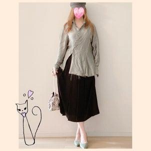 ★サテンシャツとUNIQLO太プリーツスカートな秋コーデ♪の画像