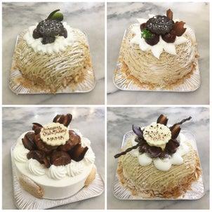 栗のデコレーションケーキの画像