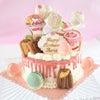好きなものがたくさん詰まったバースデーケーキの画像