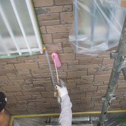 画像 日立市 外壁塗装屋根塗装K様邸 外壁クリヤー上塗り塗装 富士塗装店 の記事より