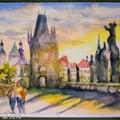 水彩画 P-3『夕暮れせまるプラハ』:チェコ