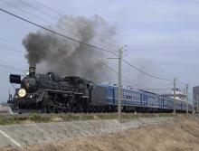 中央線の電車と釜-C57-180 春さきどり