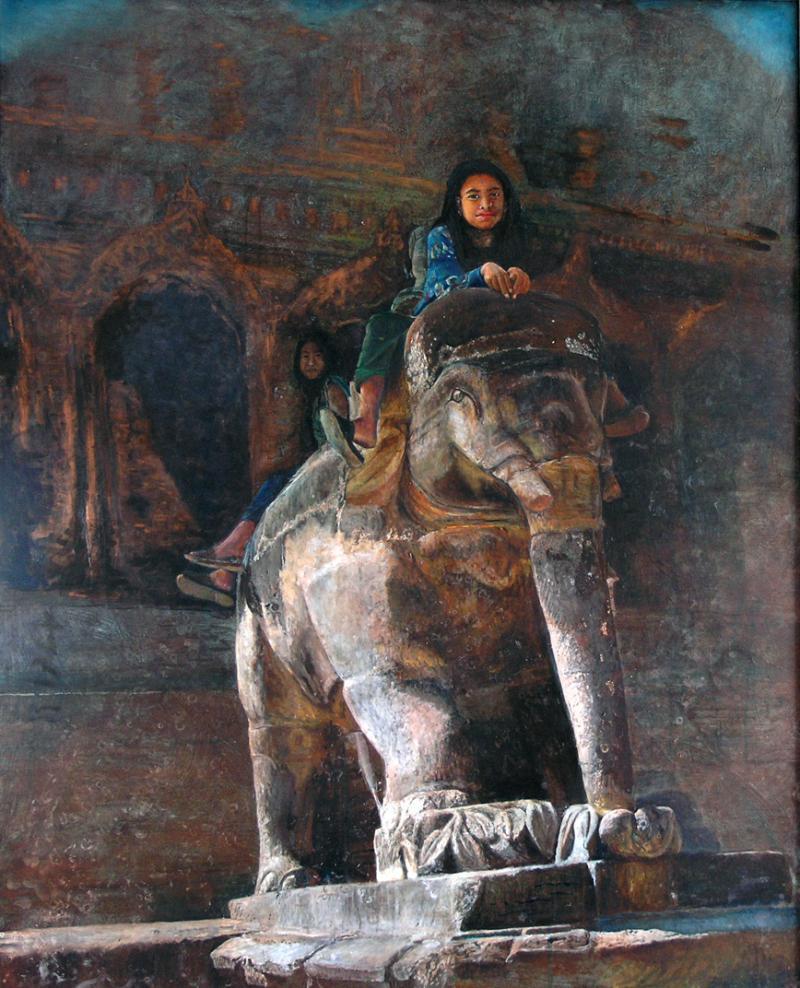 渡辺元司の絵画作品-象神と遊ぶ