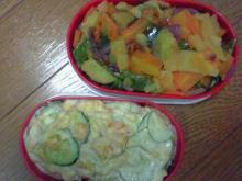 夏野菜のソテー&きゅうりたっぷりじゃがサラダ