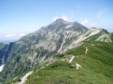 笠分岐過ぎから見る笠ヶ岳