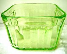 vaseline green glass container