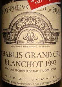 Chablis Grand Cru Blanchot Roy Prevostat 1993
