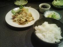 豚肉生姜焼き+お新香+小鉢+ミニうどん+ライス