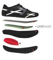 は普通のスニーカーの分解図ですが、シャンクというのはインナーソールとアウトソールの間に埋め込まれる、いわば「靴の骨格」みたいなもんで、靴が変形しないように