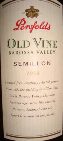 Penfolds Old Vine Barossa Valley 1998