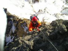 ドーム登攀中の吉田