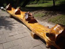 東陵公園 福陵 木のベンチ