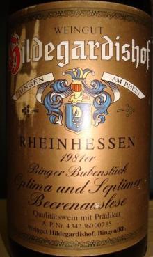 Hildegardishof RHEINHESSEN Beerenauslese 1981