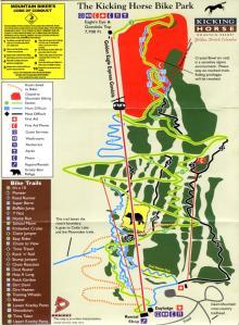 The Kicking Horse Bike Park Map
