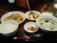 ニコタマ定食-海老と玉子のチリソース+サラダ+杏仁豆腐等