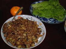 茄子とミンチのサンチェ巻き